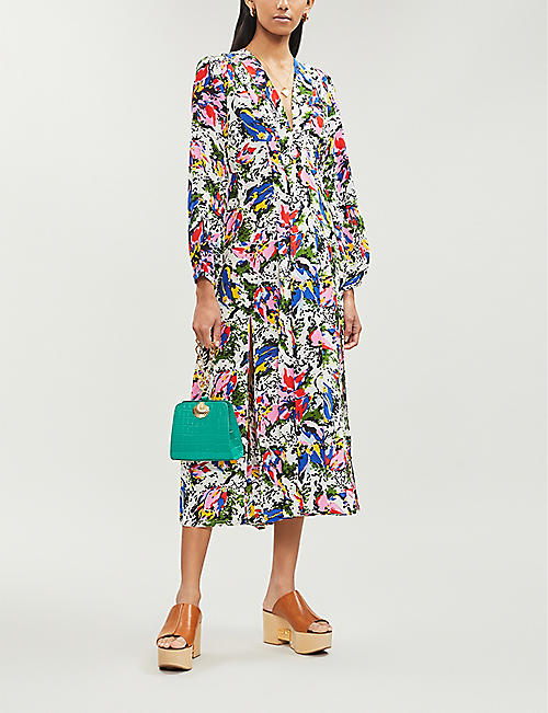 RIXO Camellia abstract-print flared silk dress