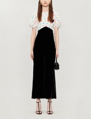 Daisy Dot Print Linen And Velvet Mini Dress by Rixo