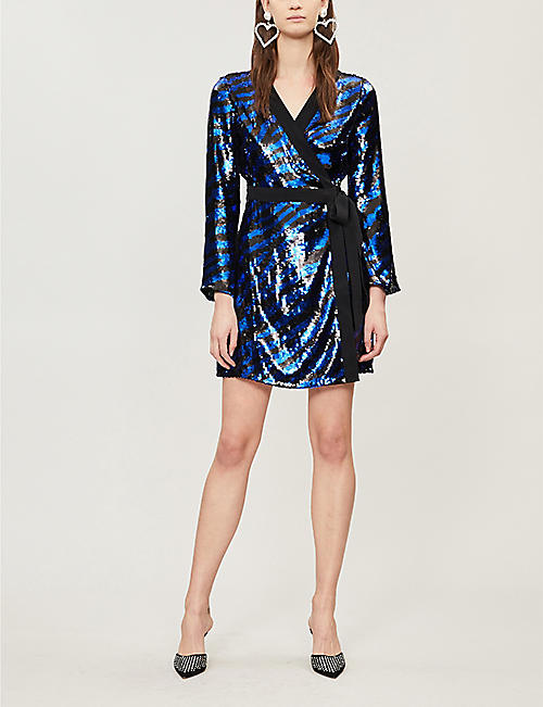 RIXO Maria zebra-pattern sequinned mini dress