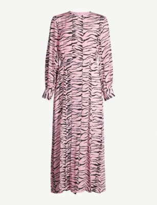 RIXO Emma flared tiger-print silk dress