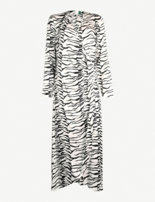 RIXO Zebra-print crepe wrap dress