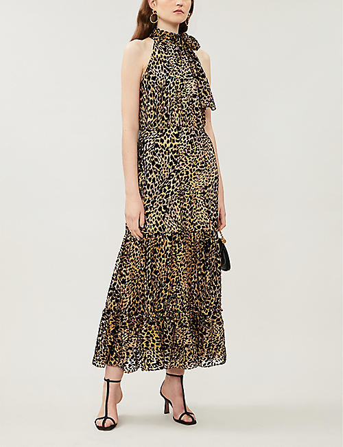 RIXO Eleanor leopard-print velvet midi dress