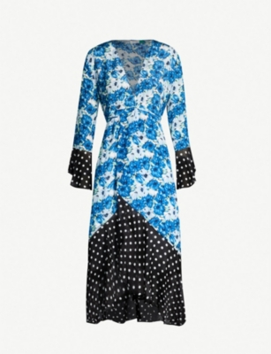 RIXO Bonnie contrast floral and dot-print silk wrap dress