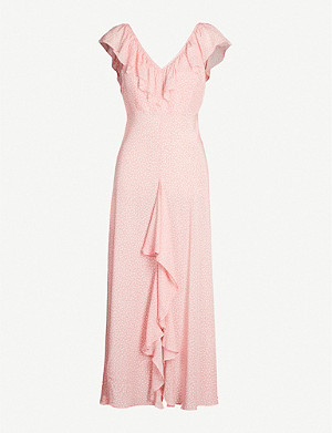 RIXO Antoinette ruffled-trim floral-print crepe maxi dress