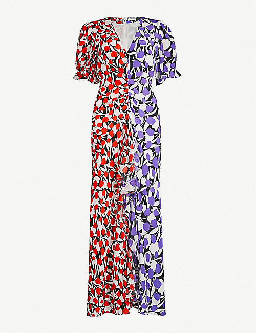 b885127ba623b5 RIXO Ariel floral-print silk midi dress