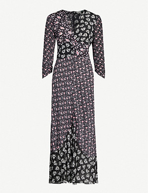 RIXO Chelsea floral print-panelled silk-crepe midi dress