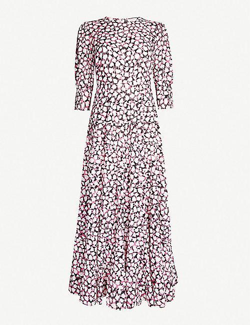 RIXO Kristen spotted cotton and silk-blend midi dress