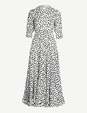 RIXO Agyness polka-dot cotton and silk-blend maxi dress