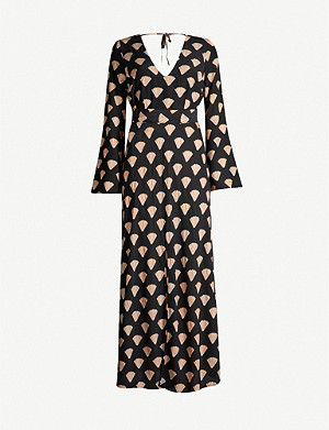 RIXO Nora shell-print silk maxi dress