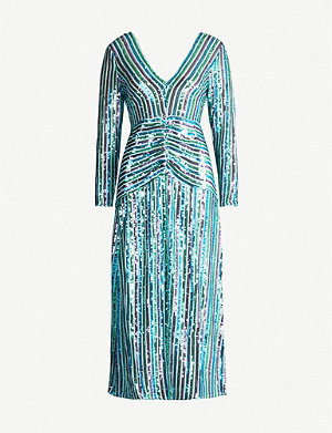 RIXO Emmy V-neck sequinned midi dress