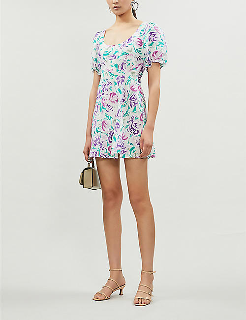 a12d2eb5d2f2 RIXO Morgan floral-print linen and silk-blend mini dress