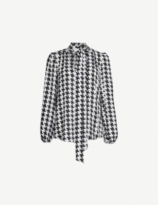RIXO Moss pussy bow houndstooth silk blouse