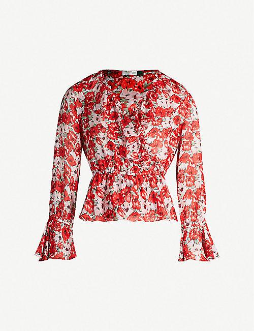 70a6fdec73efa RIXO Roisin floral-print silk-crepe top