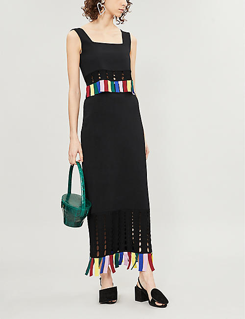 STAUD Garage tasselled knitted maxi dress