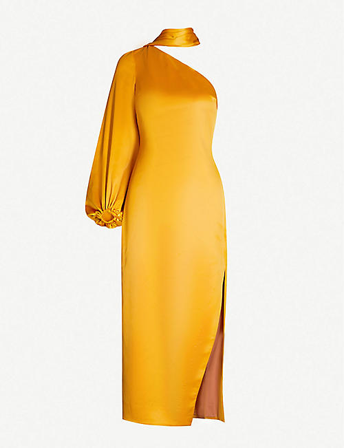 STAUD One-shoulder side-split stretch-crepe midi dress