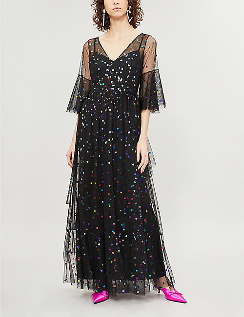314b30acf34 STAUD Townhouse polka-dot tulle maxi dress