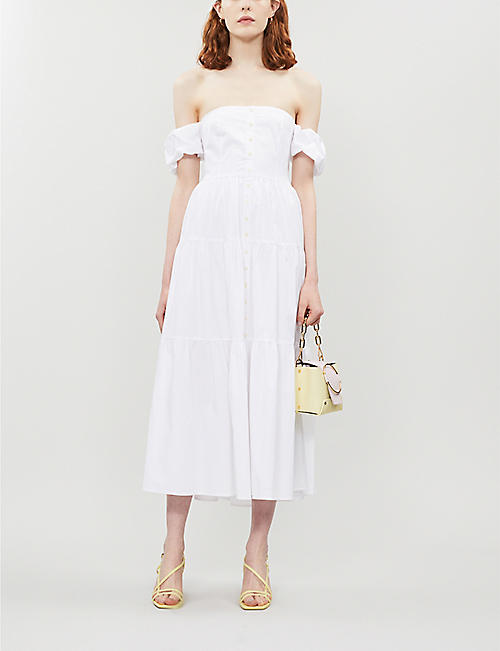 STAUD Off-the-shoulder stretch-cotton maxi dress
