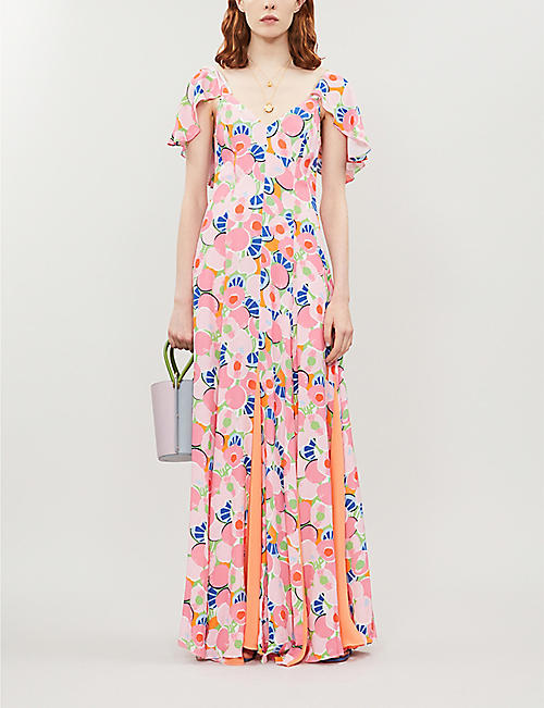 STAUD Fluted-sleeve split-hem abstract-print crepe maxi dress