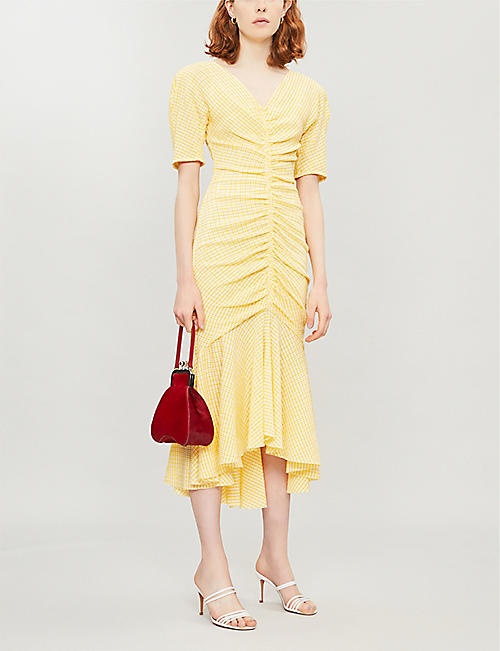 STAUD Ruched gingham crepe dress