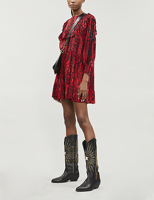 BA&SH Sym snakeskin-print ruffled crepe mini dress