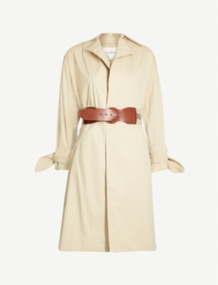 BA&SH Balzac contrast-belt stretch-cotton coat