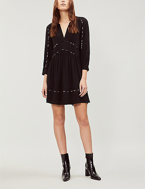 BA&SH Franny piped-trim gathered crepe mini dress