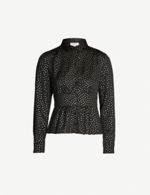 BA&SH Glorio metallic-print satin shirt