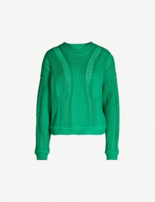 BA&SH Gramy round-neck cotton open-knit jumper