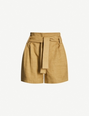 BA&SH High-rise cotton and linen-blend shorts