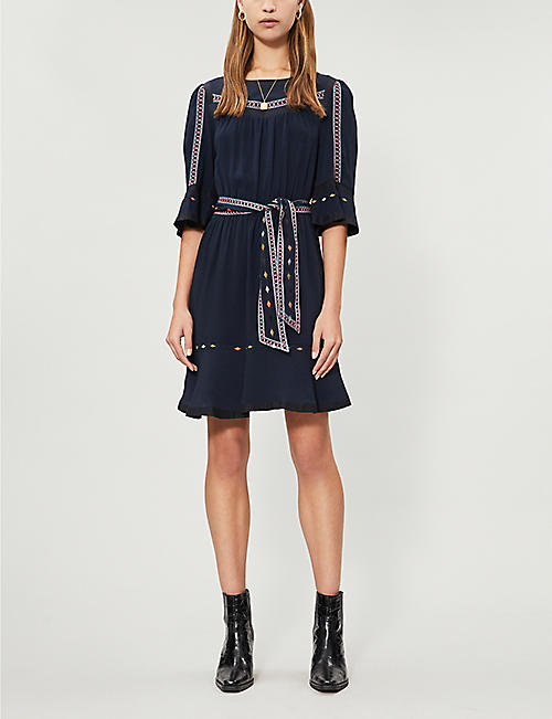 2bd344757952 BA SH Plaza embroidered-trim woven dress