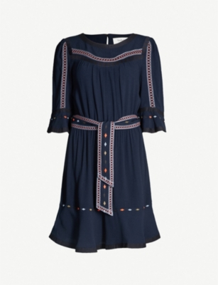 BA&SH Plaza embroidered-trim woven dress