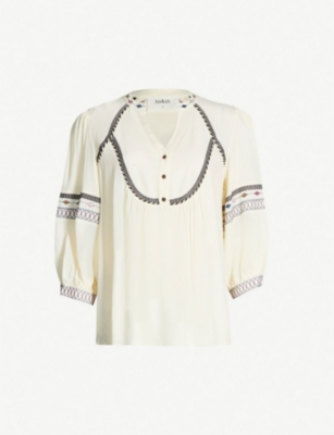 BA&SH Plume embroidered-trim crepe top