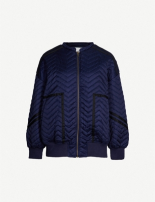 BA&SH Contrast-trim chevron-quilted jacket