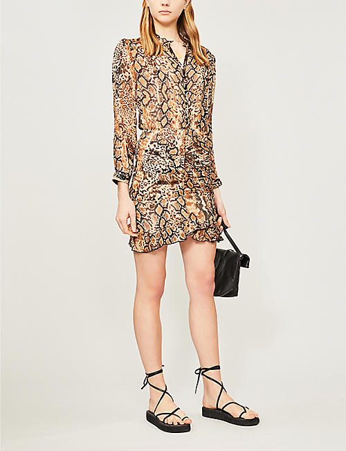 b38995a6cd4 BA SH Rackel snakeskin-print chiffon mini dress