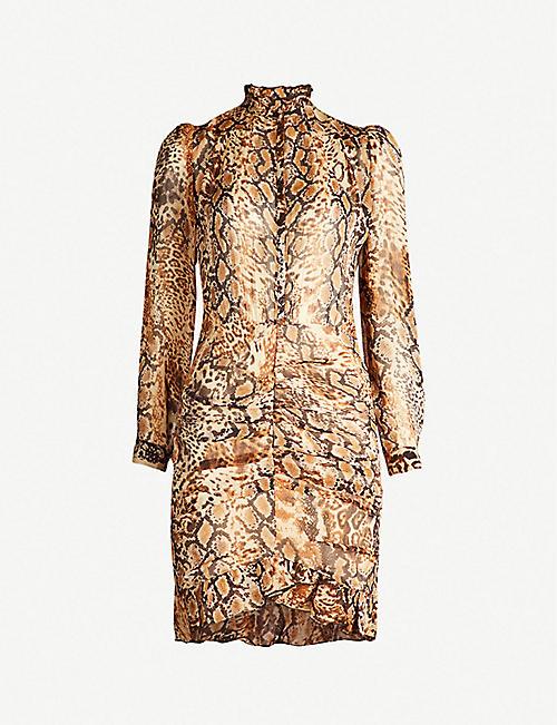 5370051b2be055 BA SH Rackel snakeskin-print chiffon mini dress