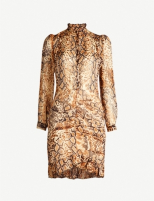 BA&SH Rackel snakeskin-print chiffon mini dress