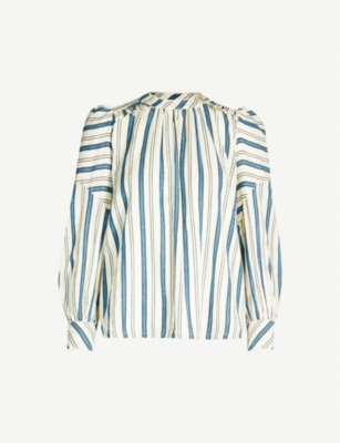 BA&SH Season striped cotton top