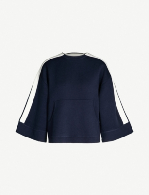 BA&SH Solange striped-sleeve knitted sweatshirt