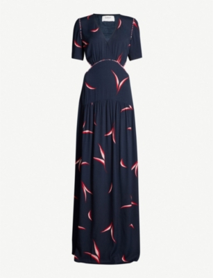 BA&SH Tiana leaf-print crepe dress