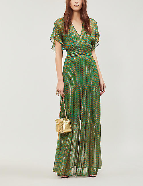 BA&SH Wanda metallic georgette maxi dress