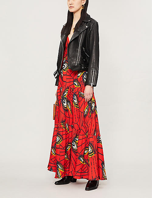 BA&SH Feather-print woven maxi dress