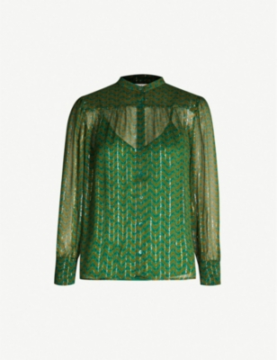BA&SH Wize metallic-stripe woven shirt