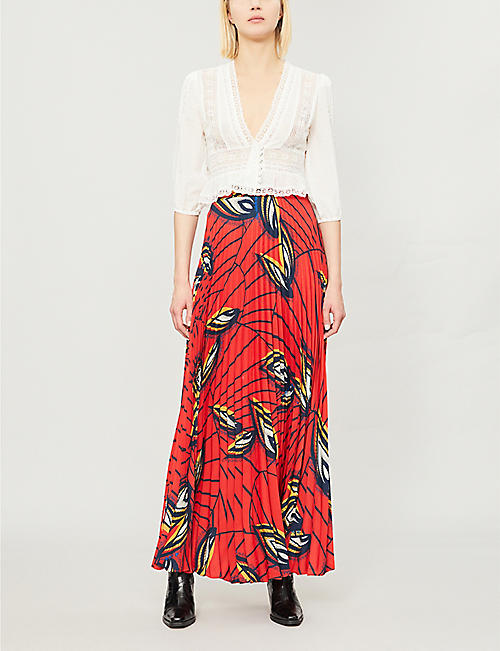 BA&SH Lena feather-print crepe midi skirt