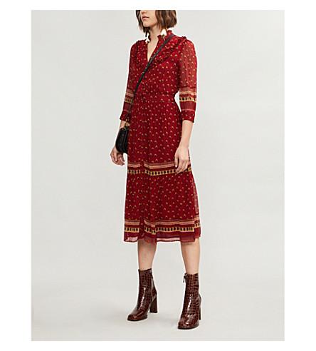 Bari Boho-Print Gerogette Midi Dress, Red