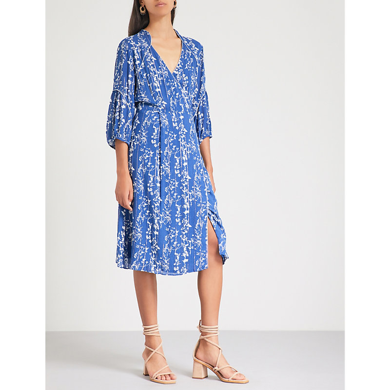 Folly Floral-Print Woven Wrap Dress, Bleuet