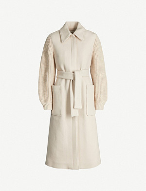 BA&SH Cala contrast-sleeve wool-blend coat