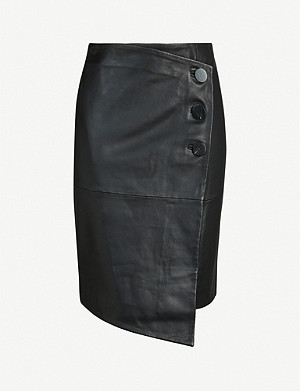 BA&SH Lana asymmetric leather mini skirt