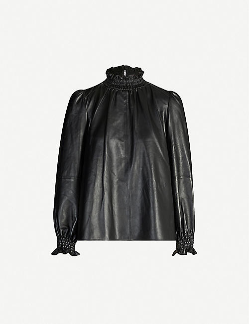 BA&SH Mylo high-neck puffed-sleeve leather top