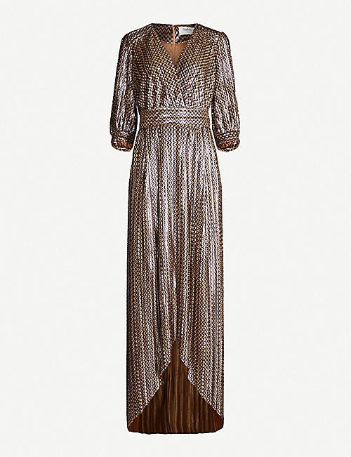6e1765909e BA&SH Pacey metallic pleated printed chiffon maxi dress