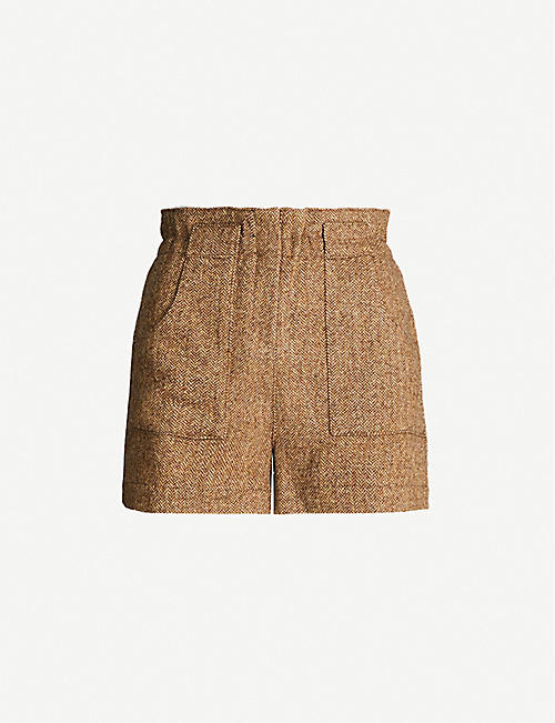 BA&SH Peter herringbone-pattern wool-blend shorts
